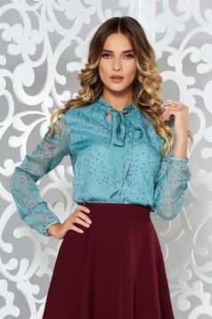 Bluza dama StarShinerS turcoaz eleganta cu croi larg din matase naturala cu guler tip esarfa