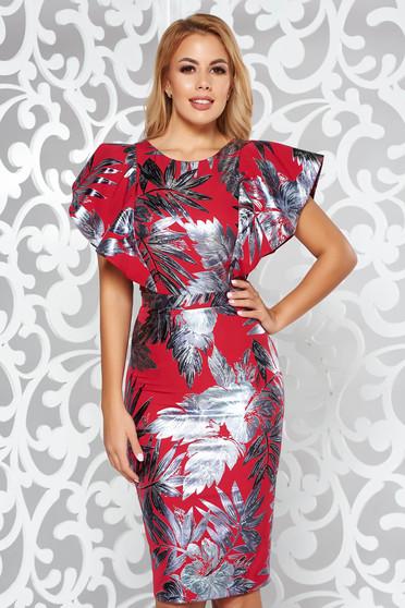 Rochie rosie de ocazie tip creion din material usor elastic cu imprimeu floral stralucitor