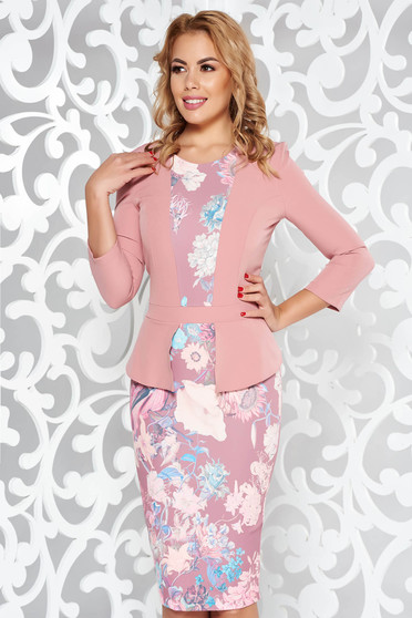 Rochie StarShinerS rosa eleganta tip creion din stofa usor elastica cu imprimeuri florale