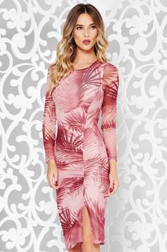 Rochie StarShinerS rosa de party tip creion din material transparent cu print captusita pe interior