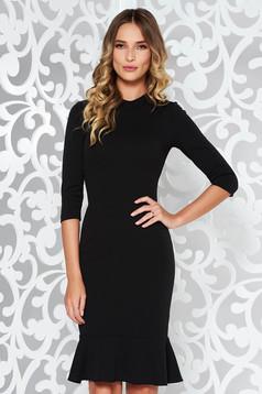 Rochie StarShinerS neagra eleganta cu un croi mulat din material elastic cu volanase la baza rochiei