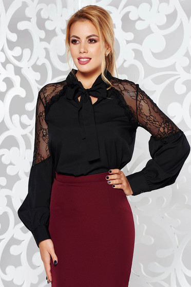 Bluza dama neagra eleganta cu croi larg din material subtire usor transparent cu aplicatii de dantela