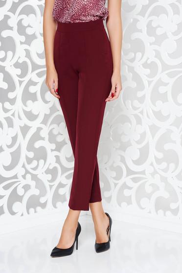 Pantaloni visinii StarShinerS eleganti office cu talie inalta din material usor elastic