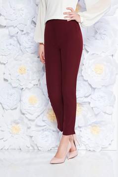 Pantaloni StarShinerS visinii eleganti office cu talie inalta din material usor elastic cu buzunare
