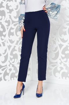 Pantaloni albastri-inchis StarShinerS eleganti office cu talie inalta din material usor elastic