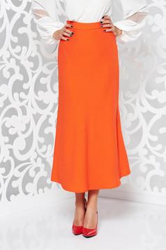 Fusta StarShinerS portocalie eleganta evazata cu talie inalta din material usor elastic