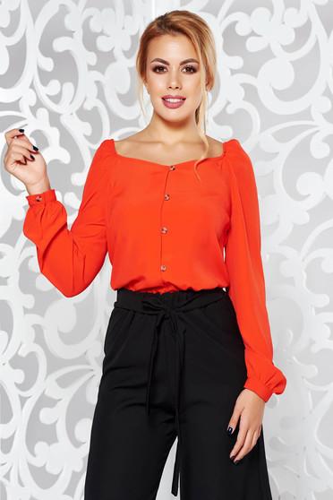 Bluza dama StarShinerS rosie casual cu croi larg cu maneci lungi din material neelastic