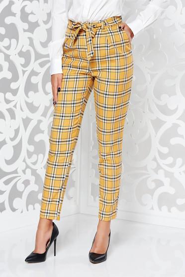 Pantaloni StarShinerS mustarii casual conici cu talie medie din stofa neelastica cu buzunare accesorizati cu cordon