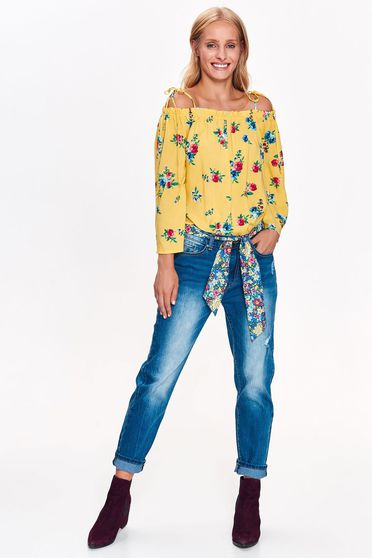 Pantaloni Top Secret albastri casual cu talie medie din bumbac usor elastic cu un croi drept