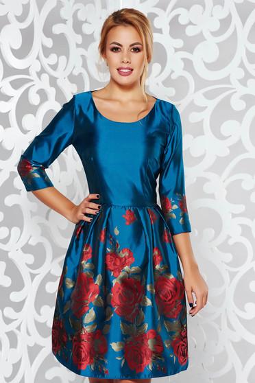 Rochie PrettyGirl turcoaz de ocazie in clos din material lucios cu imprimeuri florale