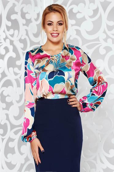 Bluza dama PrettyGirl crem eleganta cu croi larg cu maneca lunga din material satinat cu imprimeu floral