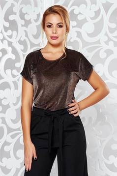 Bluza dama aurie de ocazie cu maneca scurta cu croi larg material usor transparent