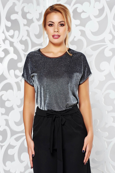 Bluza dama argintie de ocazie cu maneca scurta cu croi larg material usor transparent