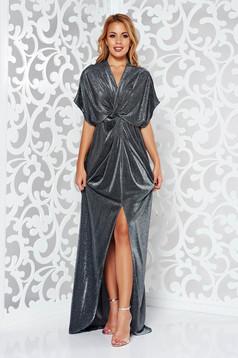 Rochie argintie de ocazie cu croi larg cu decolteu adanc tesatura metalica cu luciu