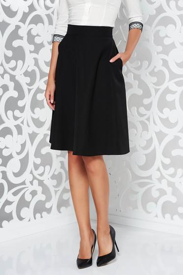 Fusta neagra StarShinerS eleganta in clos cu talie inalta din stofa usor elastica