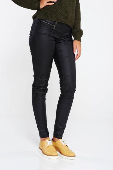 Pantaloni negri casual cu talie medie bumbac usor elastic