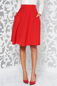 Fusta rosie StarShinerS eleganta in clos cu talie inalta din stofa usor elastica