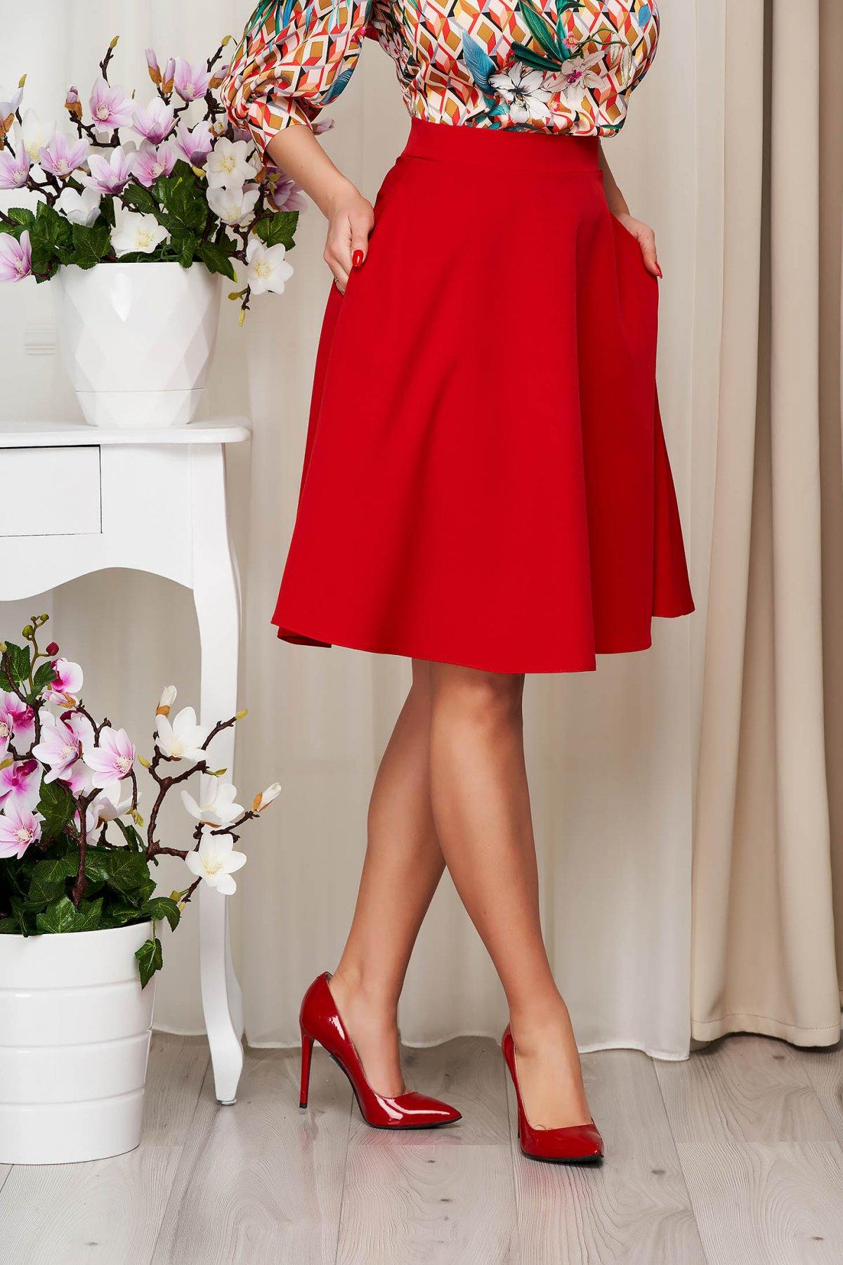 Fusta StarShinerS rosie eleganta in clos cu talie inalta din stofa usor elastica