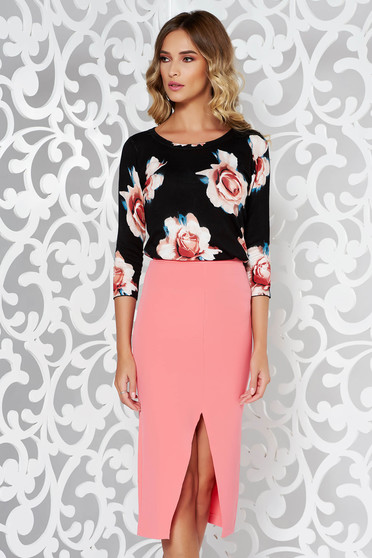 Bluza dama neagra casual material tricotat cu imprimeuri florale