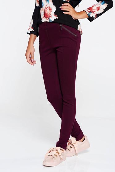 Pantaloni visinii casual cu talie medie cu un croi mulat din material usor elastic