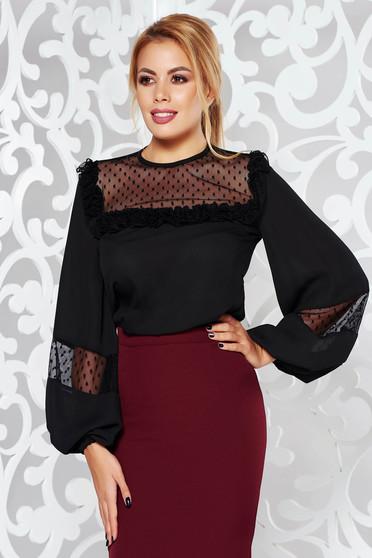 Bluza dama LaDonna neagra eleganta din voal cu croi larg
