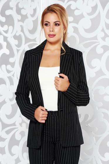 Sacou LaDonna negru office cambrat din stofa subtire usor elastica