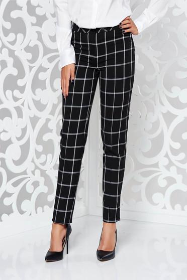 Pantaloni LaDonna negri office conici cu talie medie din stofa usor elastica in carouri