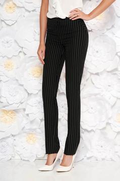 Pantaloni LaDonna negri office conici cu talie medie din stofa usor elastica