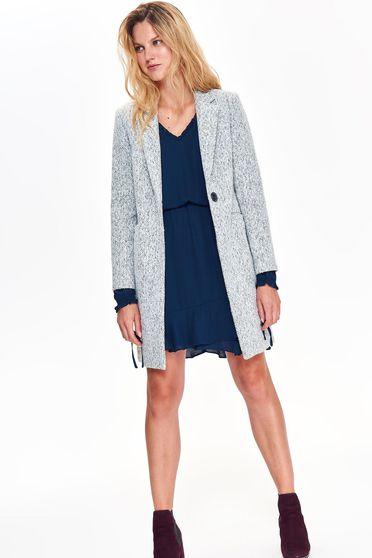 Palton Top Secret gri casual drept din material gros