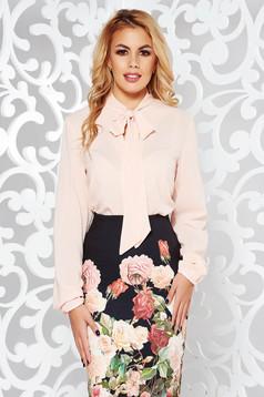 Bluza dama StarShinerS piersica eleganta cu croi larg din voal cu guler tip esarfa
