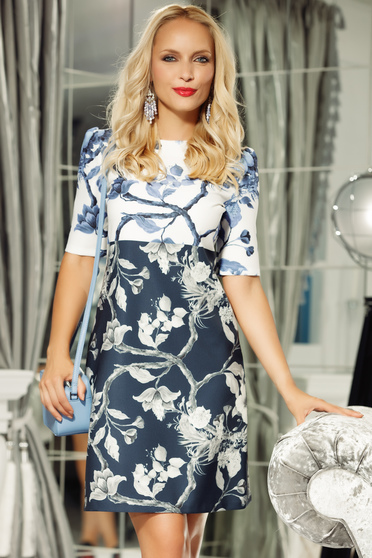 Rochie Fofy albastra-inchis eleganta cu croi in a cu maneca 3/4 din material usor elastic cu imprimeuri florale