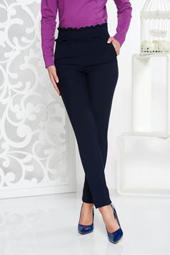 Pantaloni Fofy albastri-inchis conici cu talie inalta din material elastic cu un croi mulat si buzunare