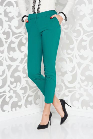 Pantaloni verzi office conici cu talie medie din bumbac cu buzunare