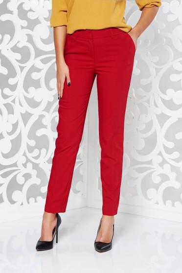 Pantaloni rosii office conici cu talie medie din bumbac cu buzunare