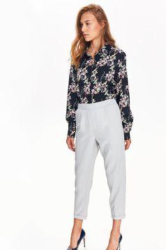 Pantaloni Top Secret gri conici office cu talie medie din material usor elastic