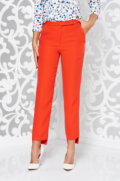 Pantaloni StarShinerS rosii office conici din stofa subtire usor elastica cu talie medie si cu buzunare