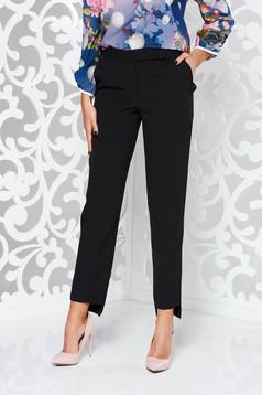Pantaloni StarShinerS negri office conici din stofa subtire usor elastica cu talie medie si cu buzunare