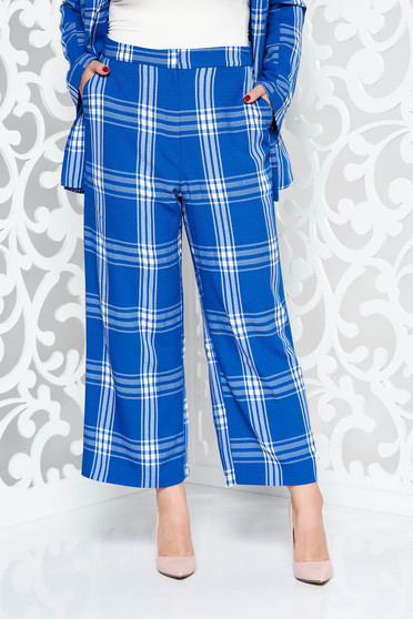 Pantaloni StarShinerS albastri office cu un croi drept si talie inalta din material neelastic in carouri cu buzunare