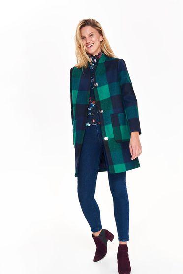 Palton Top Secret verde casual cu croi larg din material gros in carouri