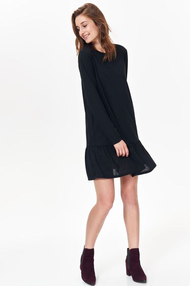 Rochie Top Secret neagra casual cu croi larg din material vaporos cu volanase la baza rochiei