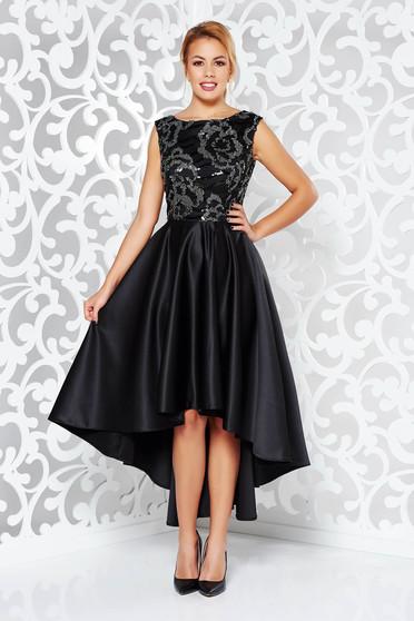 Rochie neagra de ocazie asimetrica din material satinat cu aplicatii cu paiete