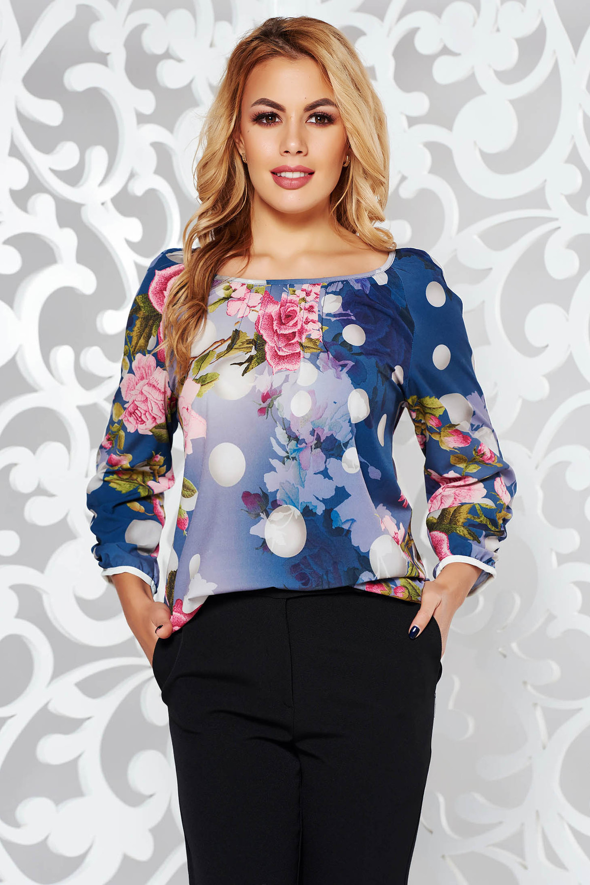 Bluza dama albastra-inchis office cu croi larg din material neelastic cu maneci trei-sferturi