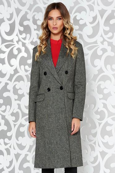 Palton StarShinerS gri-inchis office cu un croi drept din lana captusit pe interior cu buzunare