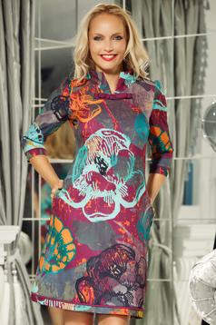 Rochie Fofy mov office cu croi in A din material usor elastic cu imprimeuri florale