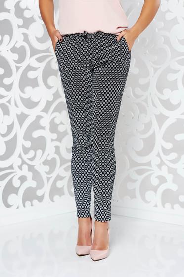Pantaloni PrettyGirl negri office conici din material elastic cu talie medie si buzunare