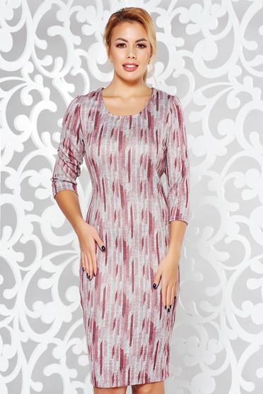 Rochie rosa office midi tip creion din material tricotat moale cu imprimeuri grafice
