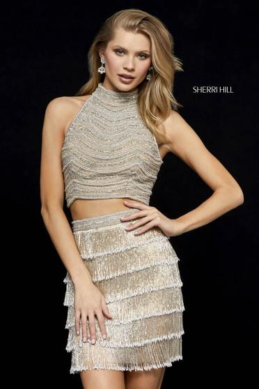 Rochie Sherri Hill 52096 nude/silver