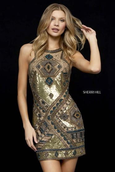 Rochie Sherri Hill 52104 gold/burgundy