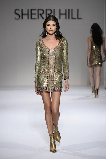 Rochie Sherri Hill 52139 gold/burgundy