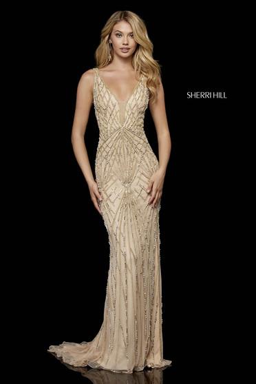 Rochie Sherri Hill 52324 nude/gold